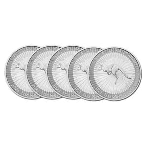 Silbermünze Känguru Australien 2021 1 oz in Stempelglanz 5er Pack