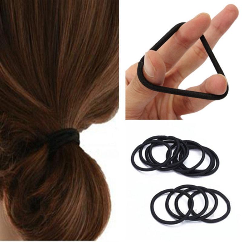 25pcs Small Black Elastic Hair Ties Band Ropes Ring Ponytail Holder ... 00cefdc475b