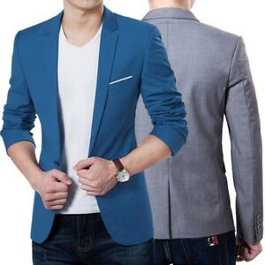 New-Stylish-Tops-Men-039-s-Casual-Slim-Fit-One-Button-Formal-Suit-Blazer-Coat-Jacket