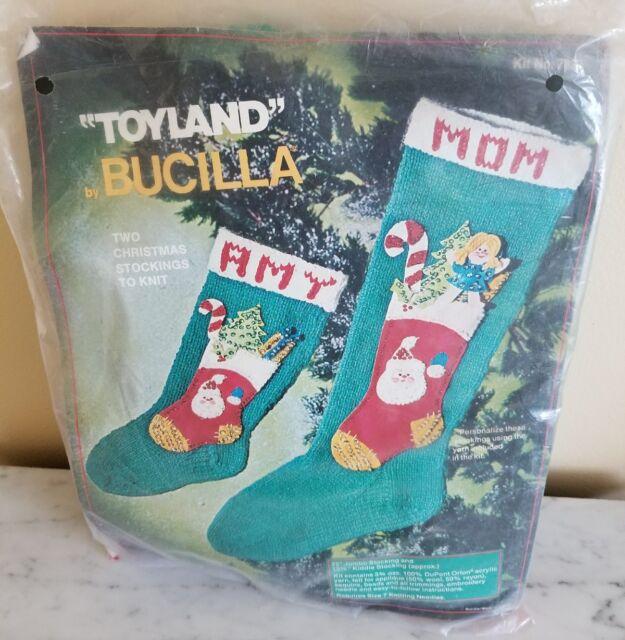 Christmas Stockings Kits.Vintage Bucilla Toyland Christmas Stockings Knitting Kit 7833