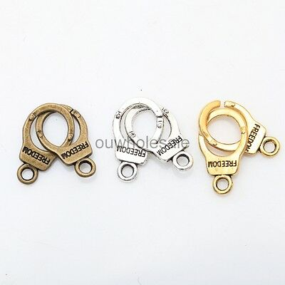 35× Jewelry Findings Tibetan Silver/Golden/Bronze Handcuffs Connectors13.6X5MM
