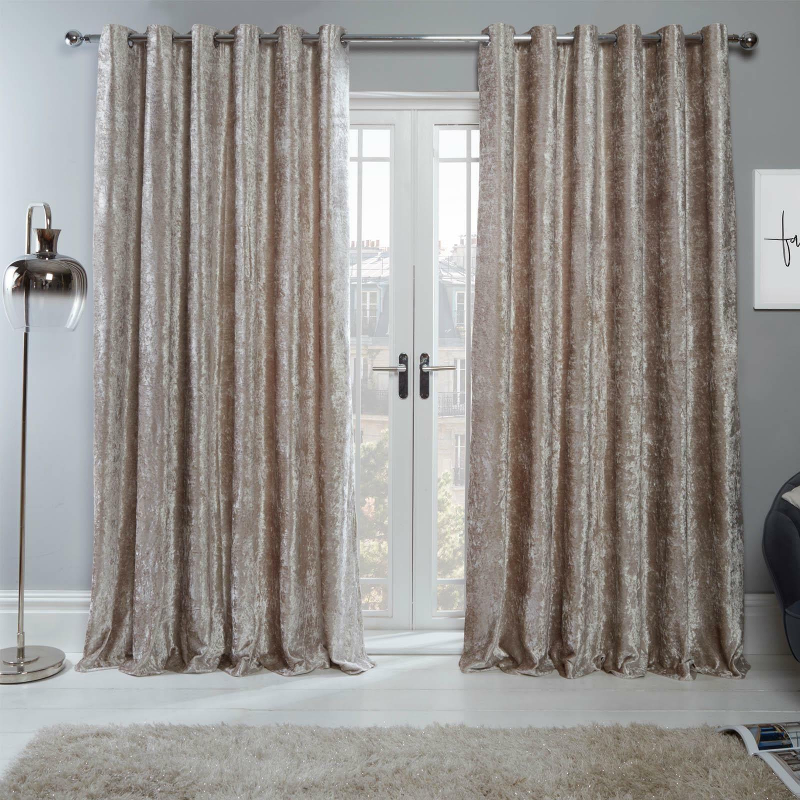 Sienna Crushed Velvet Eyelet Ring Lined Curtains Natural Champagne Beige Pair For Sale Online Ebay