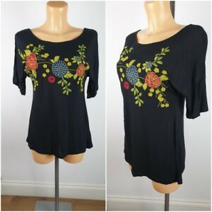 NEW-Matalans-Ladies-Black-Embroidered-Summer-Top-Size-10-22