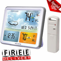 Weather Station Digital Jumbo Display Atomic Clock Indoor Outdoor Temperature