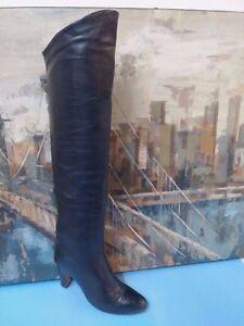 al alti ginocchio 6 Cuoio 5 Stivali al M in Vero pelle nera Italia tacco UX66Sqpa