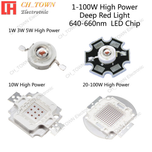 1w 3w 5w 10w 20w 30w 50w 100w Deep Red 640-660nm High Power SMD LED Chip Lights