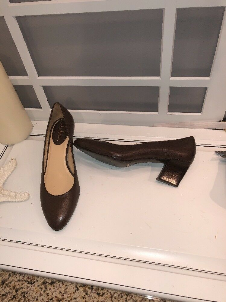 Cole Haan Platform Heels Pumps Brown Cognac Leather Footbed Career 8 B
