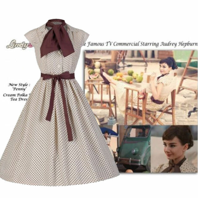 50S Hepburn Vintage Dress Brown Polka Dot Film War And Peace Size 2XL MMS 3275