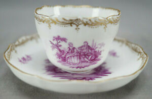 Meissen Teichert Hand Painted Puce Watteau Courting Couple & Gold Demitasse Cup