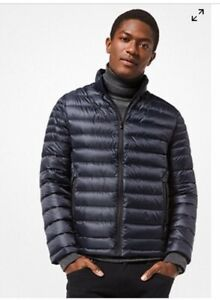 a3c12ad58 Details about MICHAEL KORS MENS Quilted Packable Down Jacket SIZE M  Midnight Blue NWT $240