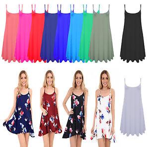 Women-Ladies-Plain-Summer-Cami-Swing-Min-Dress-Long-Top-vest-Plus-lot-Size-8-26
