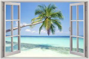 Huge-3D-Window-view-Exotic-Ocean-Beach-Wall-Sticker-Mural-Art-Decal-92