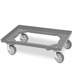 Transportroller f/ür Kisten 60 x 40 cm mit 4 Lenkrollen in grau