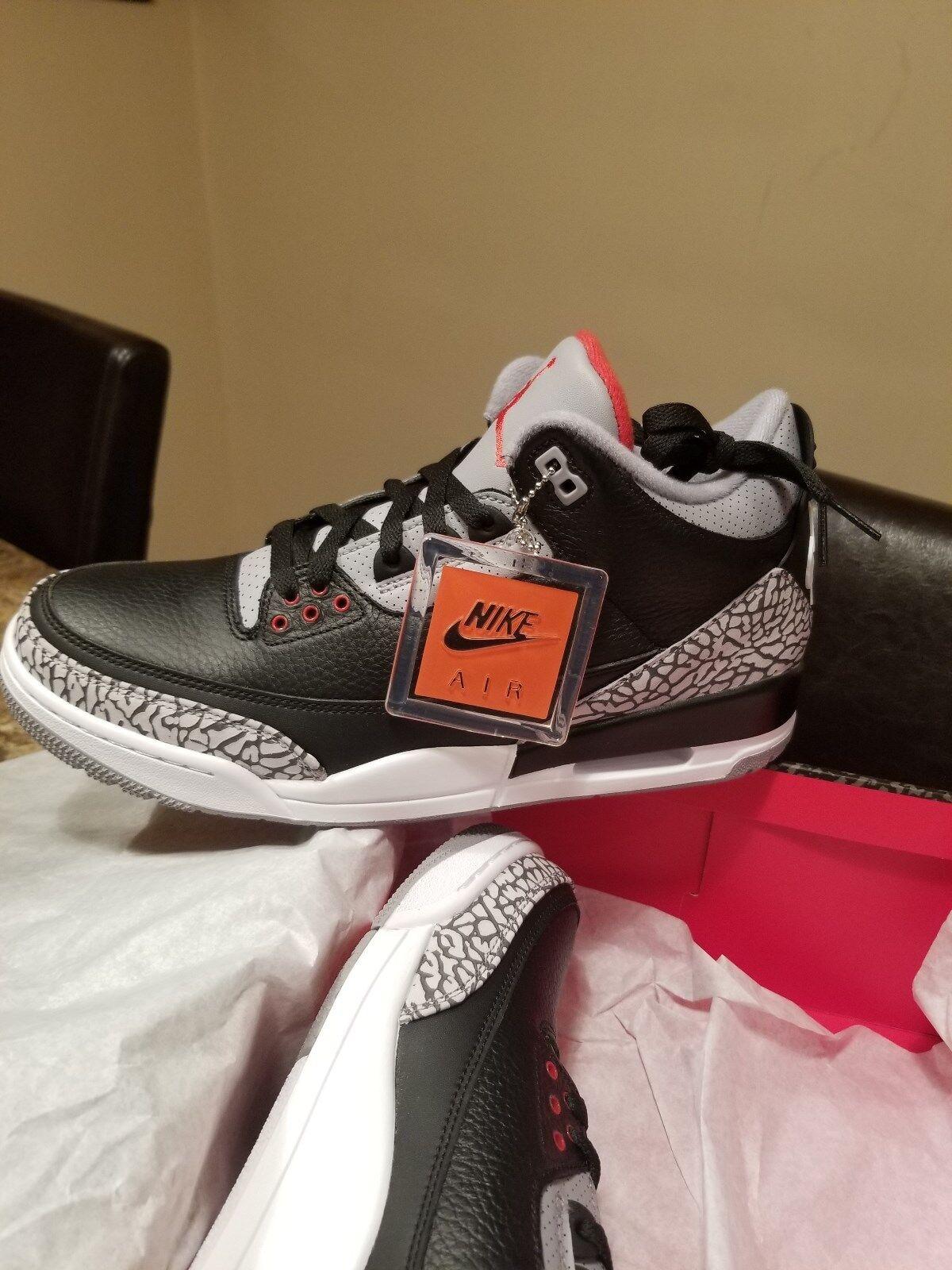 2018 Nike Air Jordan Retro 3 III Black Cement DS In Hand Size 11