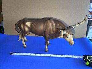 Large Vintage Breyer Plastic Longhorn Steer Bull Darker Brown