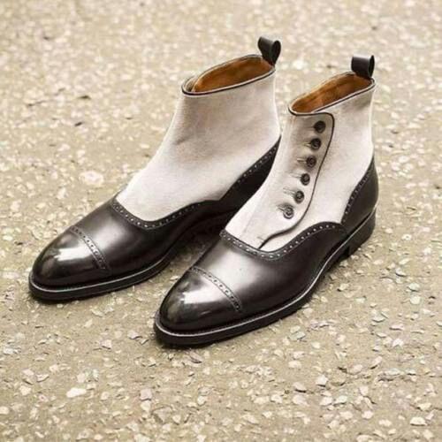 liquidazione fino al 70% Handmade Uomo two toned button stivali, Uomo ankle ankle ankle stivali, Uomo fashion style stivali  vendita di fama mondiale online