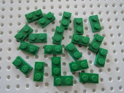 Lego 20 x Platte Bauplatte flach  1x2 3023  grün
