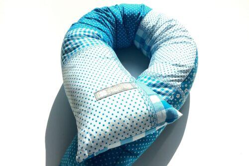 ♥ Bettschlange Bettrolle Lagerungskissen Nestchen  ♥ Türkis im Patch Style ♥