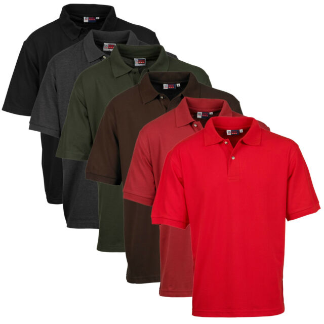 Mens US Basic Polo Shirt Casual Workwear Pique Cotton Short Sleeve Top T Shirt