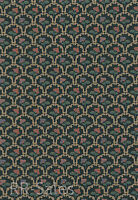Elegant Gold Blooming Floral Painted Dark Green Antique Decor Dbl Roll Wallpaper