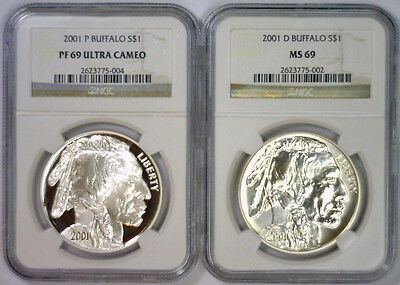 2001 P & D BUFFALO Silver Commemorative $1 Pair PROOF & UNC ~ NGC PF69 & MS 69