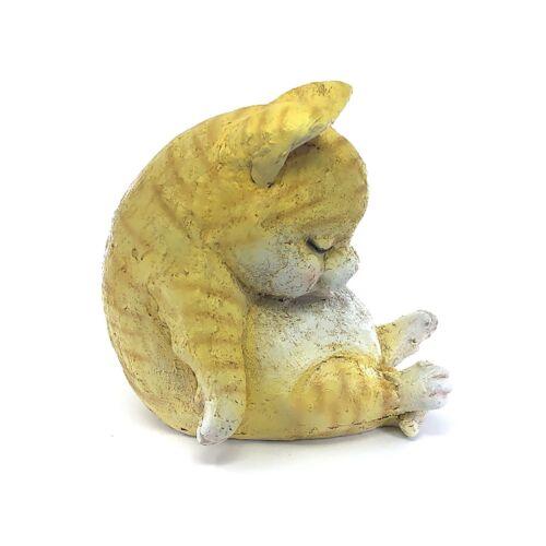 Sleeping Animal Cat Yellow Garden Statue Designer Art Decoration Outdoor Yard