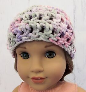 Cute-Pastel-Colors-Crocheted-Hat-fits-American-Girl-Dolls-18-034-Dolls