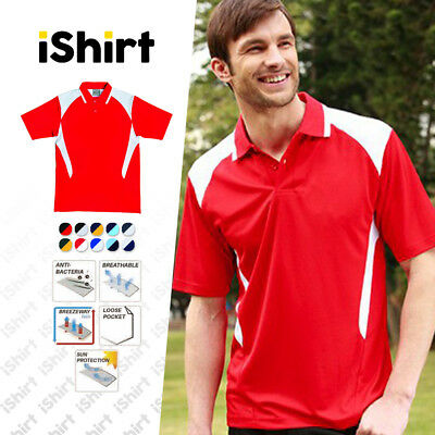 Methodical Mens Polo Shirt 100% Polyester Cool Dry Breathable Contrast Active Polo Shirts Polos