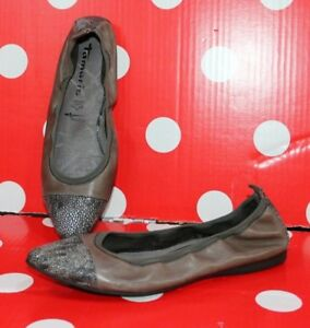 Details about Tamaris Women 22134 Ballet Flats sz 37 Brown Ballerinas Leather Shoes touch it