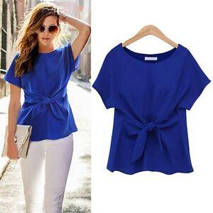 fa16d7f120d1 Summer Women Chiffon Blouse Short Sleeve Shirt Bow T-shirt Blouse ...