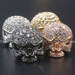 Zircon-Gemstones-Pave-Solid-Round-Drilled-Skull-Bracelet-Connector-Charm-Beads