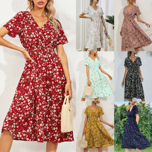 Womens Boho V Neck Floral Midi Dress Ladies Short Sleeve Summer Beach Sundress