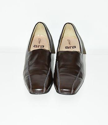 Vintage Marrón Cuero Antideslizante en Talón Mediados de Ara Clásico Informal Tribunal Zapatos Talla 4/37
