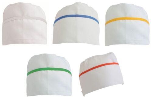 5 Pezzi Cappello da cuoco in 30% cotone 70% poliestere  bianco bordo colorato