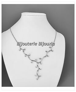 Collier-Branches-17Cristaux-ZIRCONIUM-Argent-Massif-925-000-Rhodie-Bijoux-femme