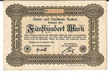 GERMANY NOTGELD Aachen Stadt&Landkreis 500 MARKS 15.09.1922 EF red serial no
