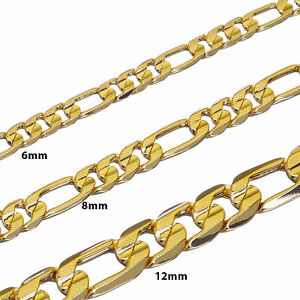 """Mens Figaro link Chain 14K Gold Plated 8mm to 12mm Length 20/"""" 24/"""" 30/"""""""