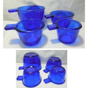 New Set of 4 Cobalt Blue Glass Measuring Nesting Cups 1/4c 1/3c 1/2c 1c