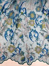 """TURQUOISE MESH W/MULTICOLOR FLORAL EMBROIDARY LACE FABRIC  50"""" WIDE 1.5 YARD"""