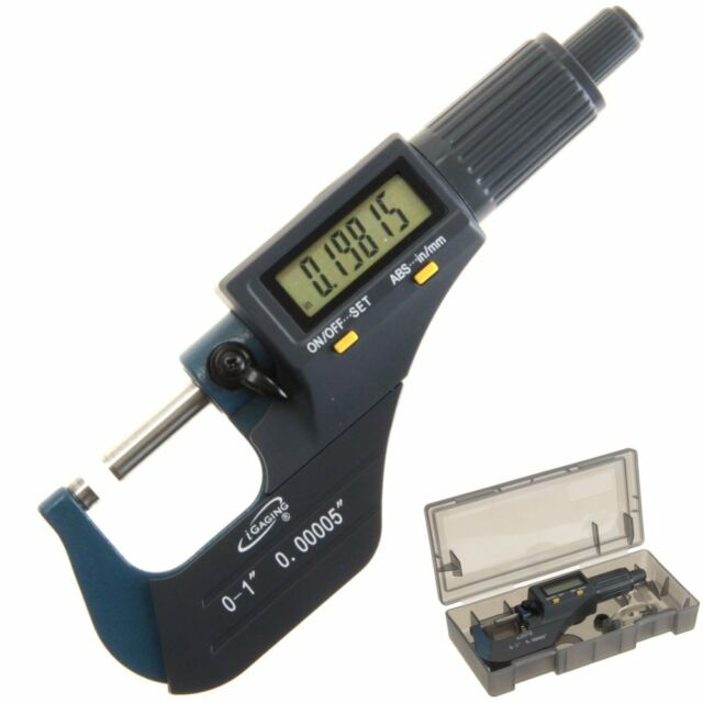 "iGaging Digital Electronic Micrometer Outside 0-1""/0.00005"" X-Large LCD Carbide"