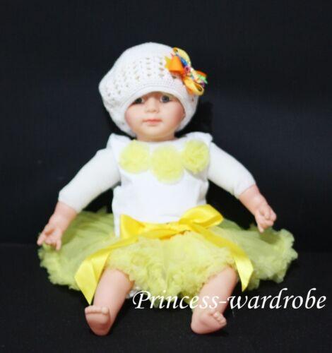 Newborn Baby Yellow Pettiskirt /& Rosettes Top Set 3-12