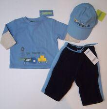 NWT Gymboree Tractor Company 3-6 Months Blue Tee Fleece Pants & Baseball Cap Hat