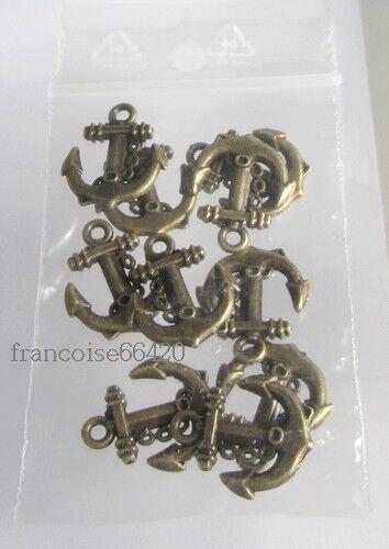 10 pcs BRELOQUES CHARMS PERLE CREAT BIJOUX BRACELET #B864 ANCRE MARINE 18mm