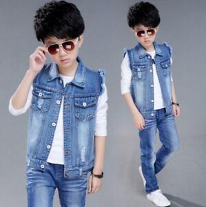 Details About Kids Sleeveless Coat Boys Denim Vest Girls Ripped Biker Jeans Jacket Fashion New