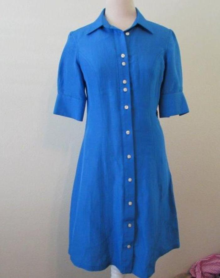 REBECCA & DREW womens 32 Small turquoise blue linen silk s/s career dress belt