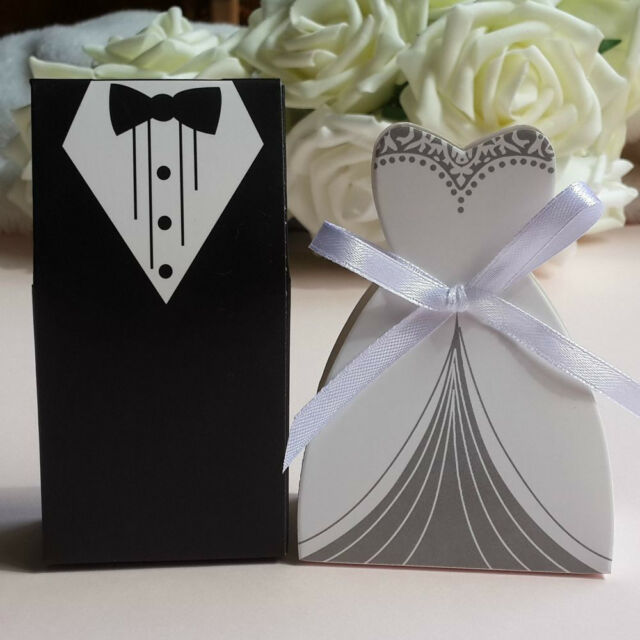 20pc Tuxedo Dress W/Ribbon Groom Bridal Wedding Party Favor Gift Candy Boxes