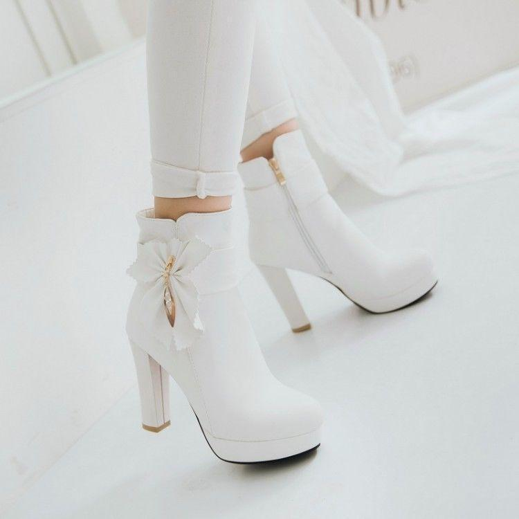 Womens Sweet Bowknot Metal Decor Round Toe Pumps Heels Platform Ankle Boots @BT0