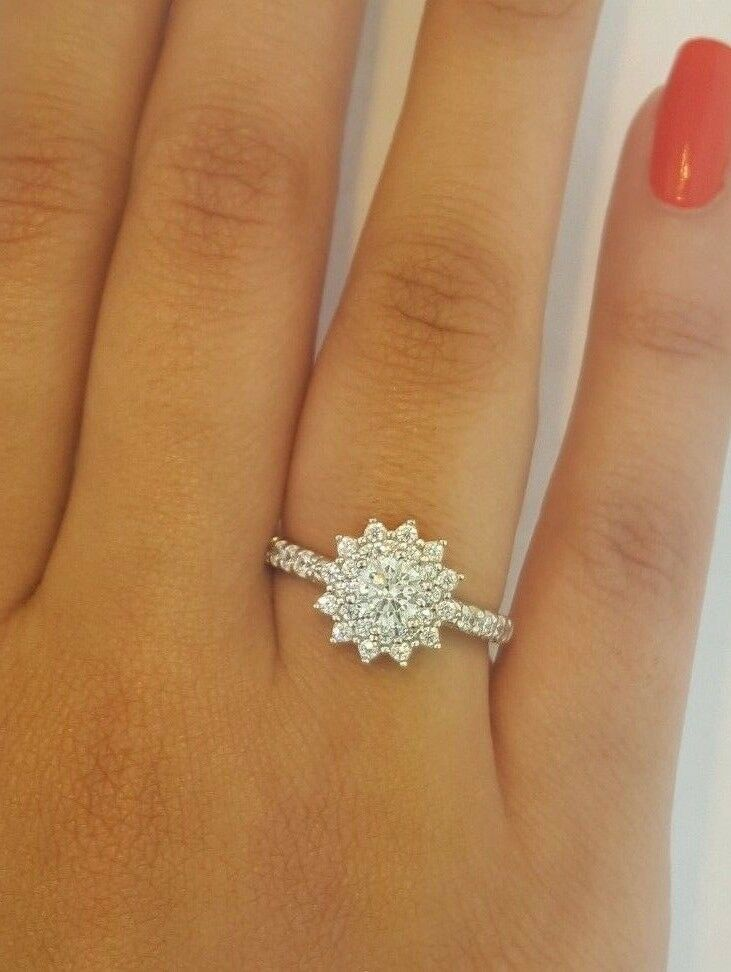 1 CT 14k Solid White gold Diamond Engagement Ring Round Cut Flower Shaped