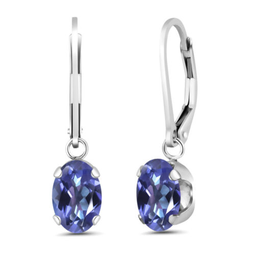 3.20 Ct Oval Purple Blue Mystic Topaz 925 Sterling Silver Earrings