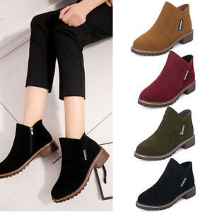 Women-Suede-Zipper-Martin-Boots-Ankle-Boots-Short-Spring-Autumn-Fashion-Shoes